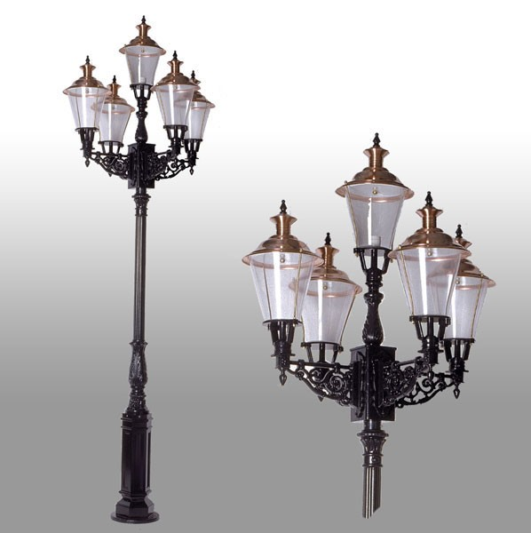 Buitenverlichting Nostalgisch Klassiek Lantaarnpaal Roermond 5-lichts - 325 cm