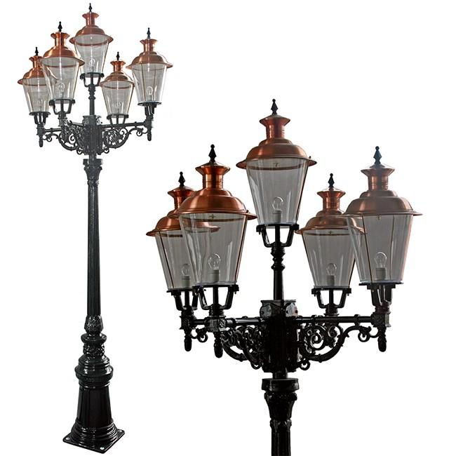 Buitenverlichting Nostalgisch Klassiek Lantaarn Terneuzen 5-lichts - 390 cm